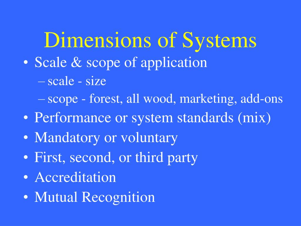 Dimensions of Systems