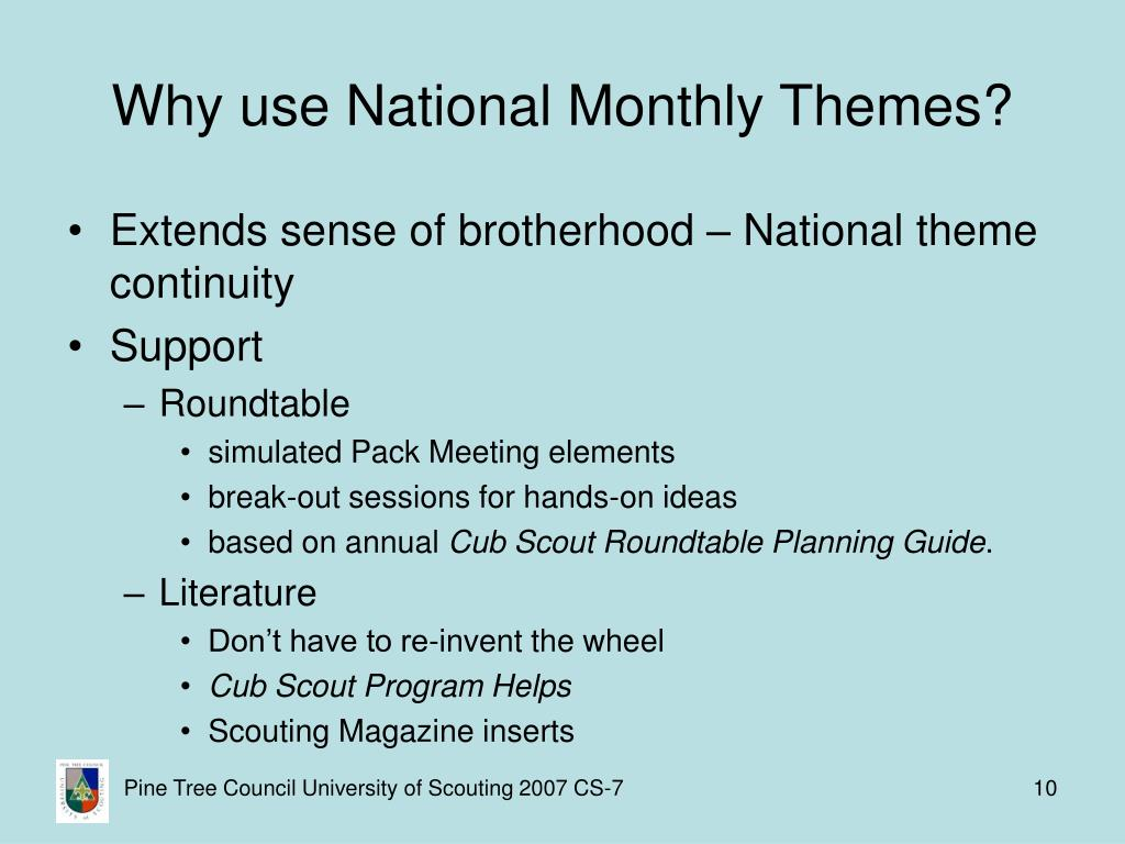 Why use National Monthly Themes?