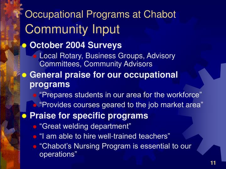 Occupational Programs at Chabot