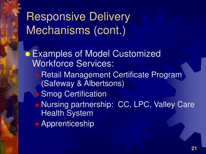 Responsive Delivery Mechanisms (cont.)
