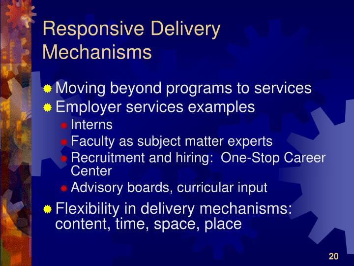 Responsive Delivery Mechanisms