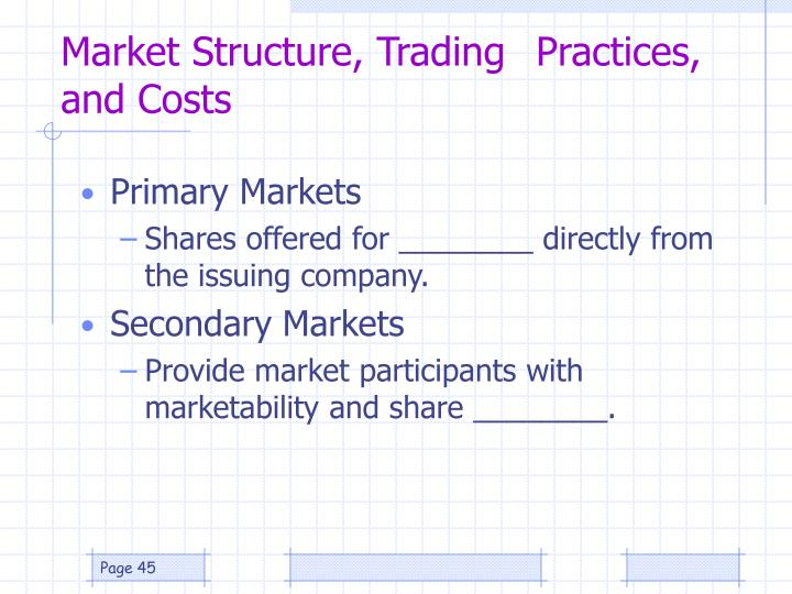 Market Structure, Trading 	Practices, and Costs
