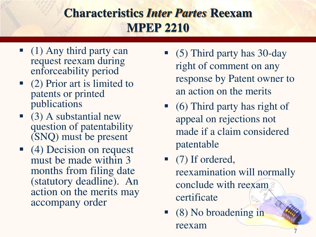 (1) Any third party can request reexam during enforceability period