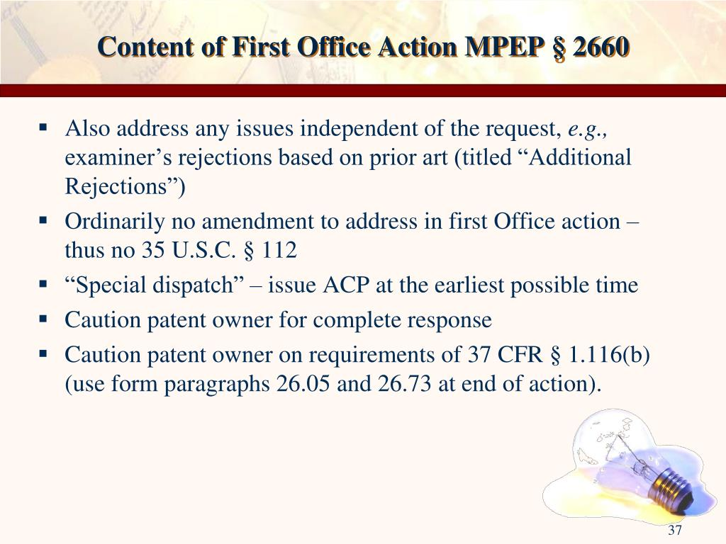 Content of First Office Action MPEP § 2660