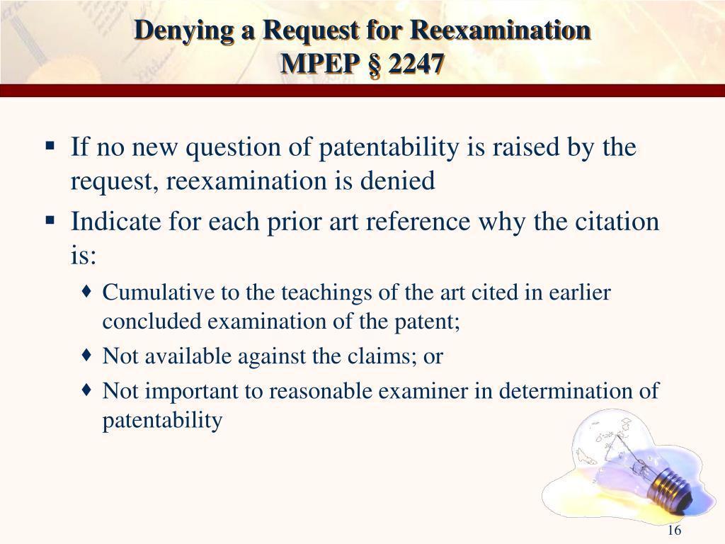 Denying a Request for Reexamination