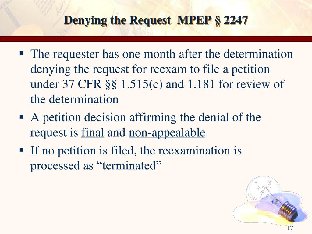Denying the Request  MPEP § 2247