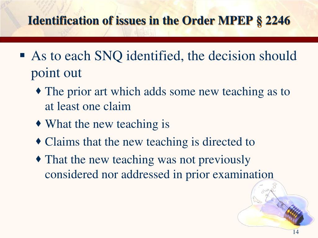 Identification of issues in the Order MPEP § 2246