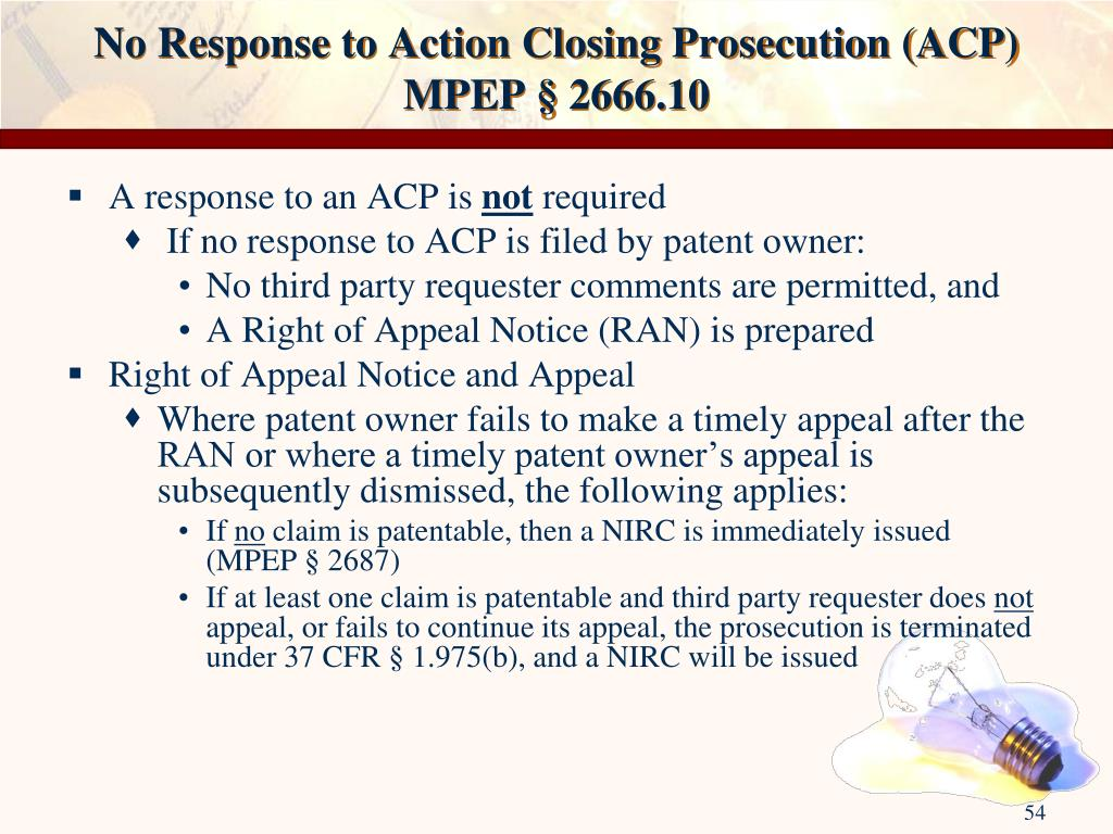 No Response to Action Closing Prosecution (ACP)