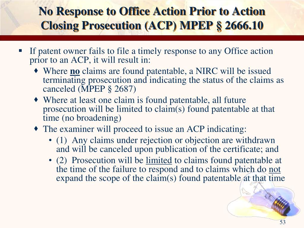 No Response to Office Action Prior to Action Closing Prosecution (ACP) MPEP § 2666.10