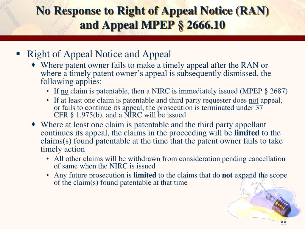 No Response to Right of Appeal Notice (RAN)