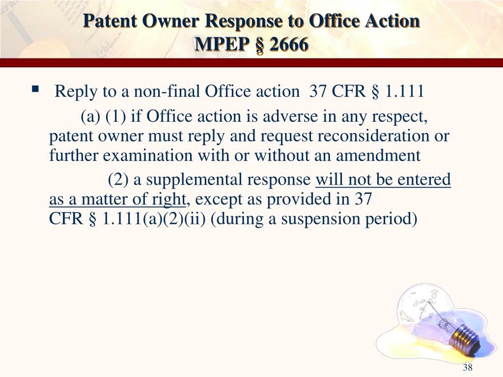 Patent Owner Response to Office Action