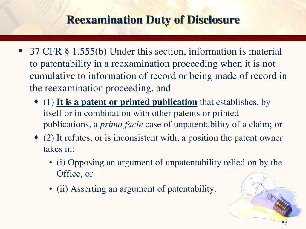 Reexamination Duty of Disclosure