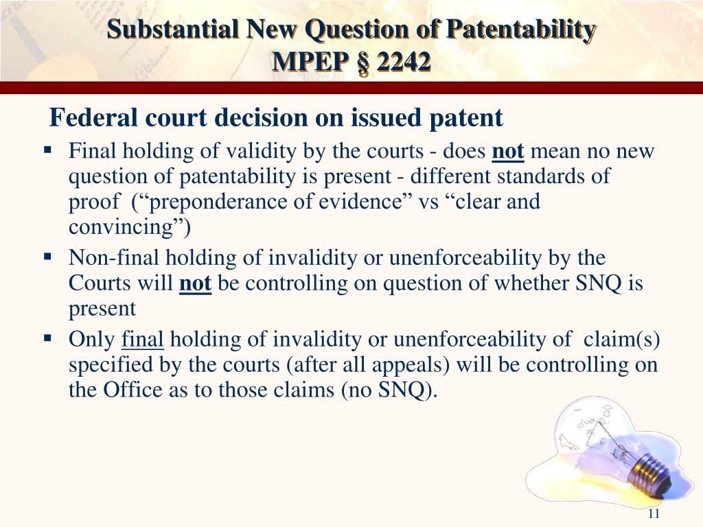 Substantial New Question of Patentability
