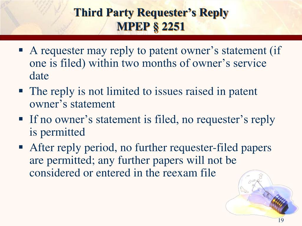 Third Party Requester's Reply