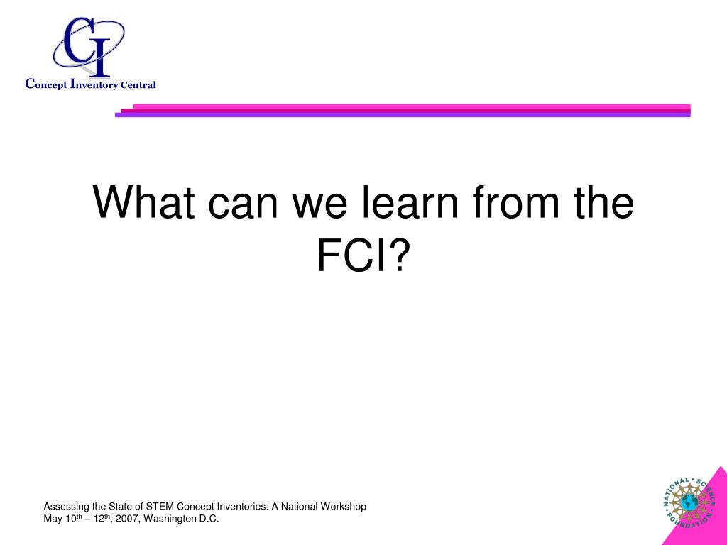 What can we learn from the FCI?