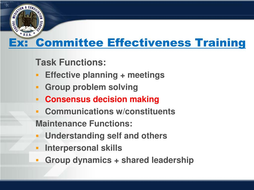 Ex:  Committee Effectiveness Training