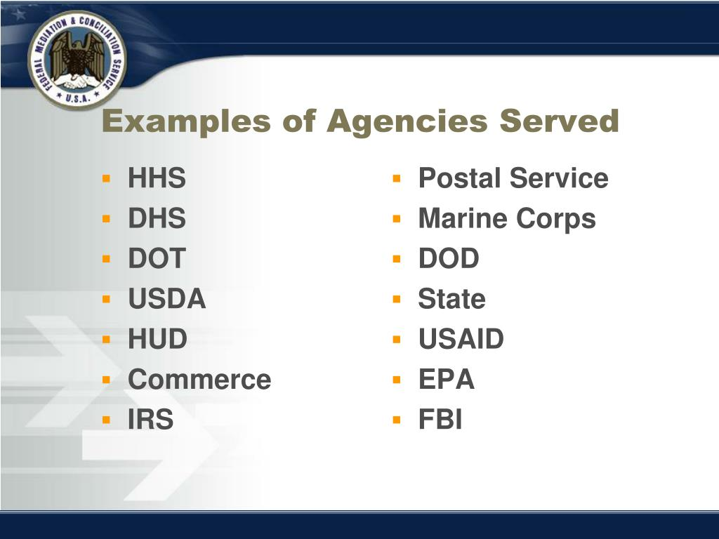 Examples of Agencies Served