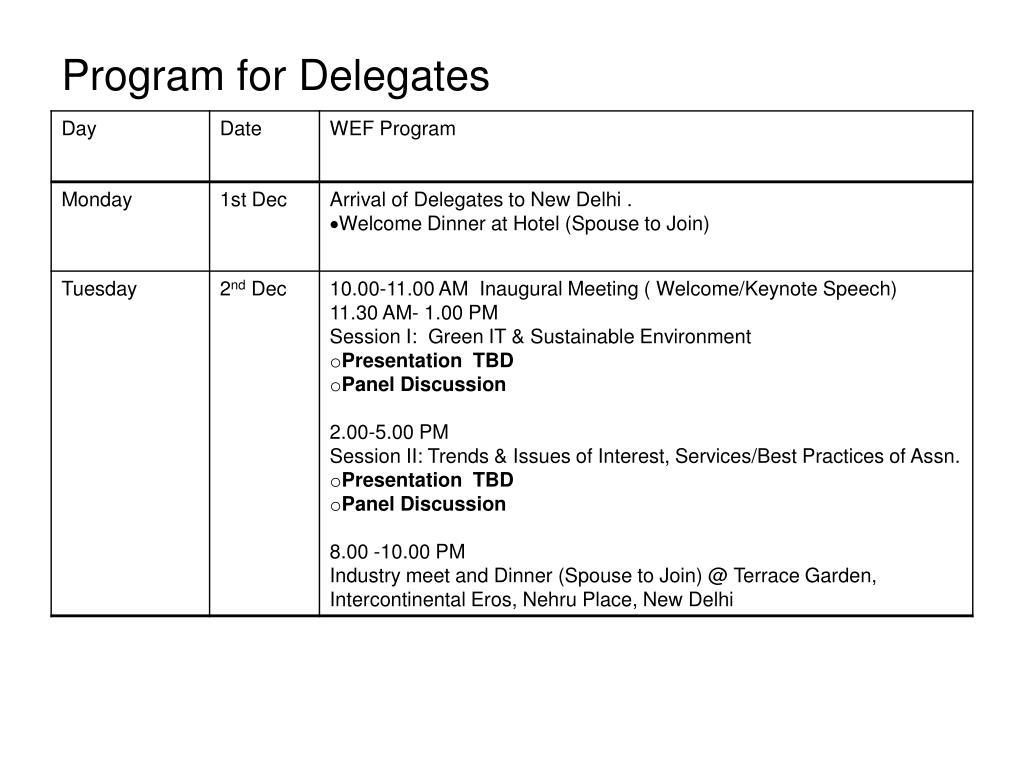 Program for Delegates