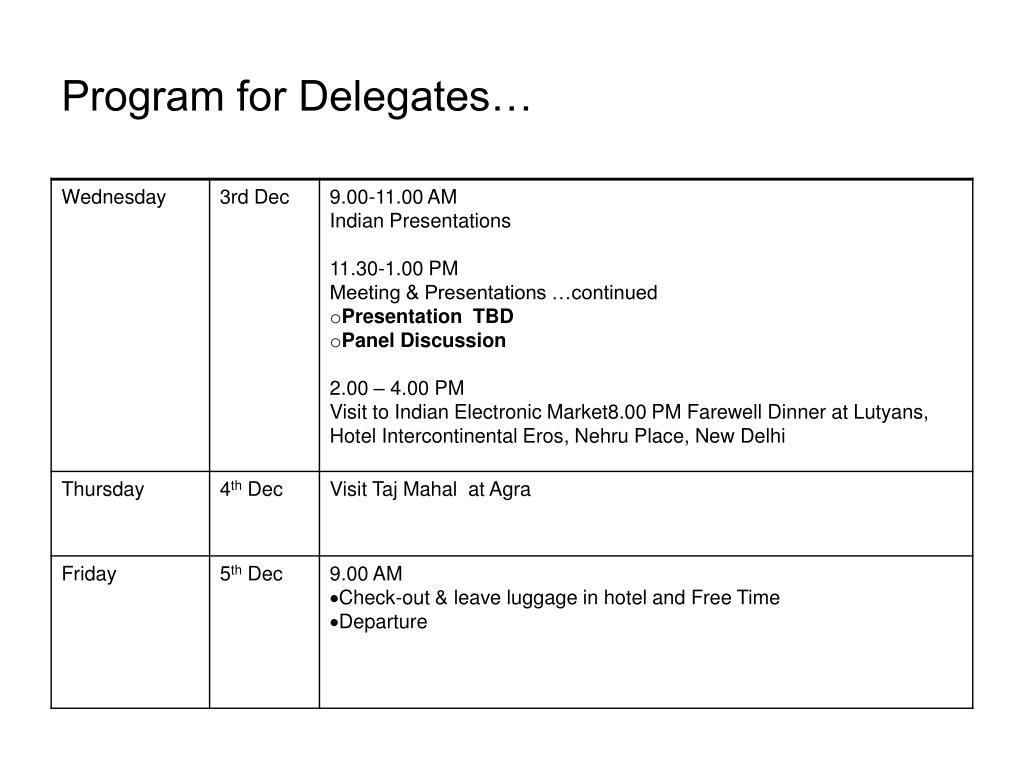 Program for Delegates…