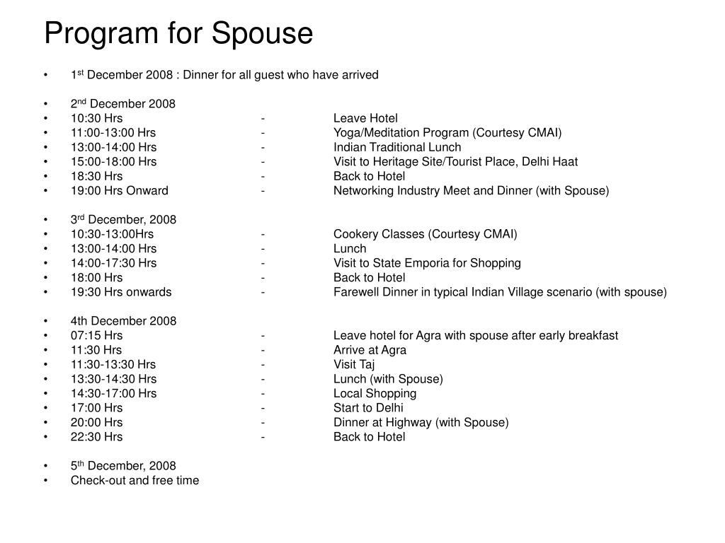Program for Spouse