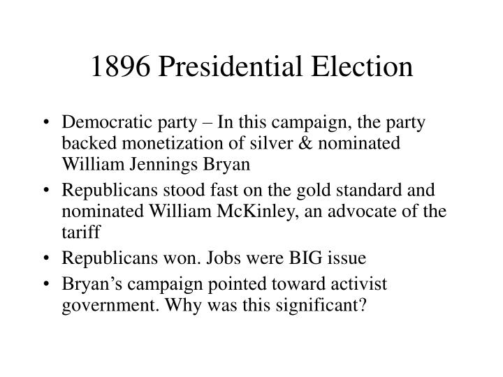 1896 Presidential Election