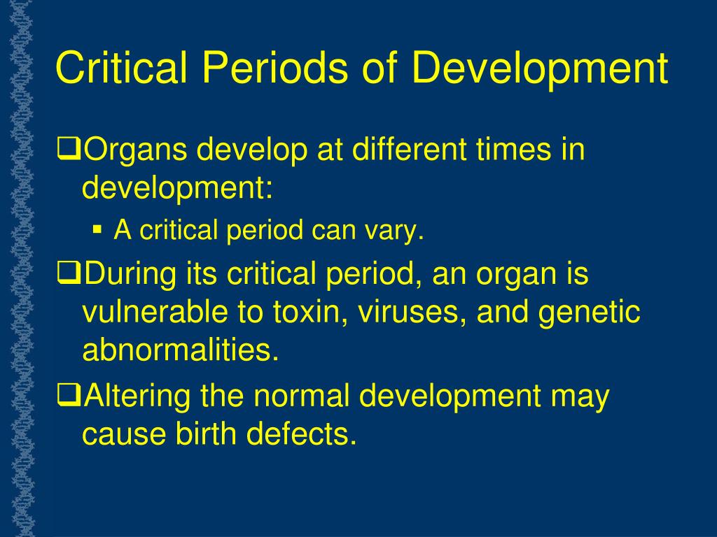 Critical Periods of Development