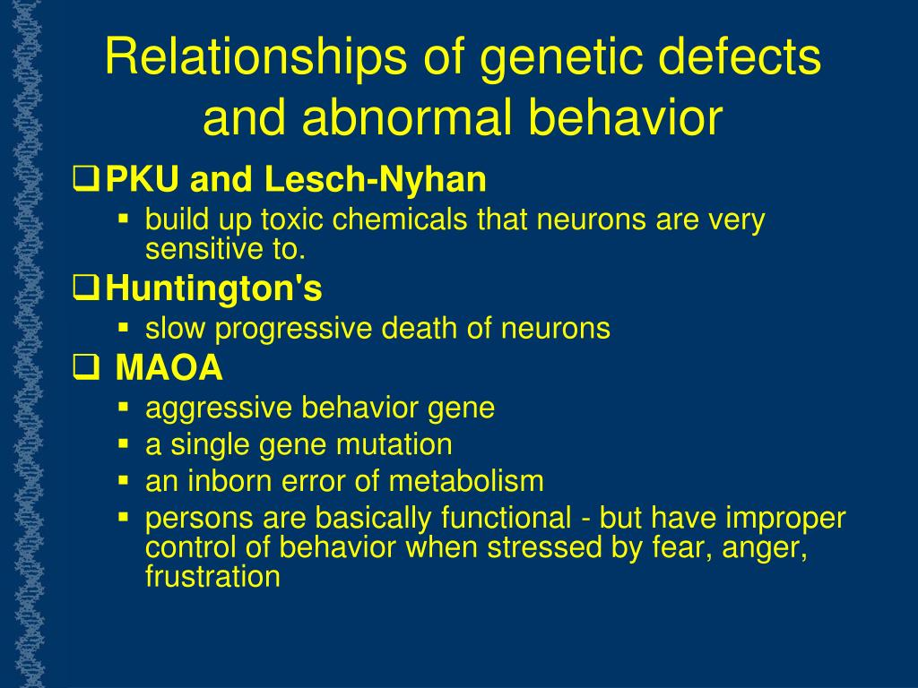 Relationships of genetic defects and abnormal behavior
