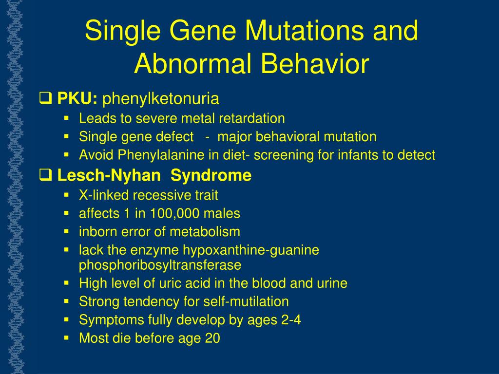 Single Gene Mutations and Abnormal Behavior