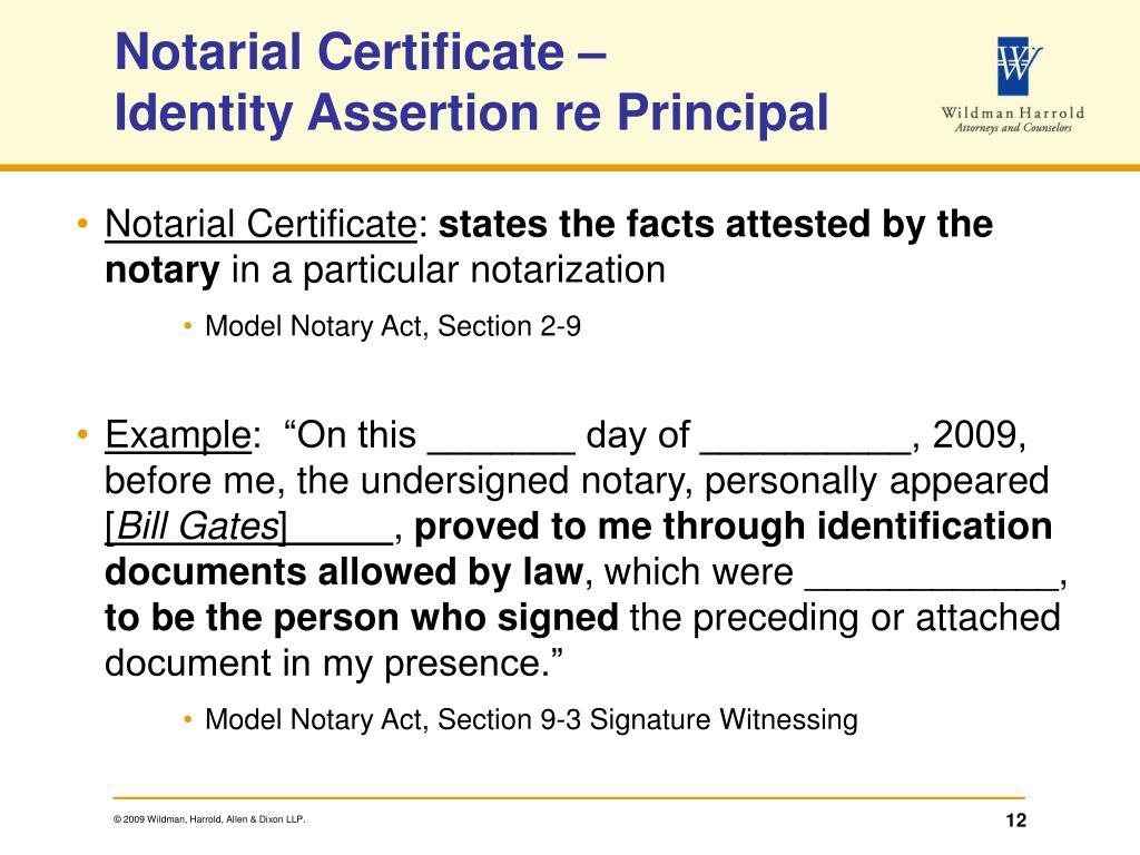 Notarial Certificate –