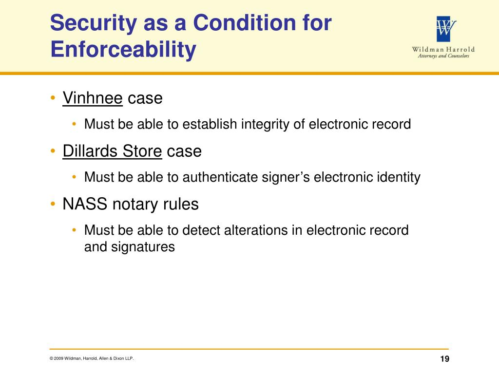Security as a Condition for Enforceability