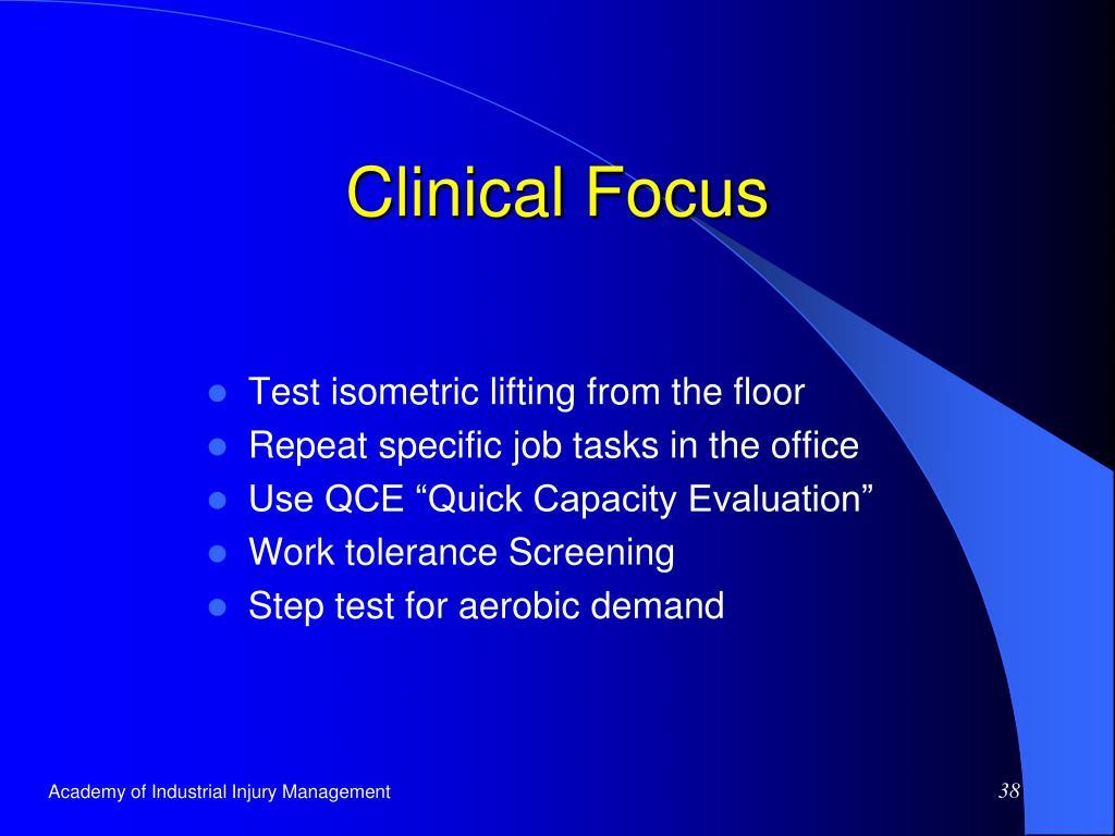 Clinical Focus