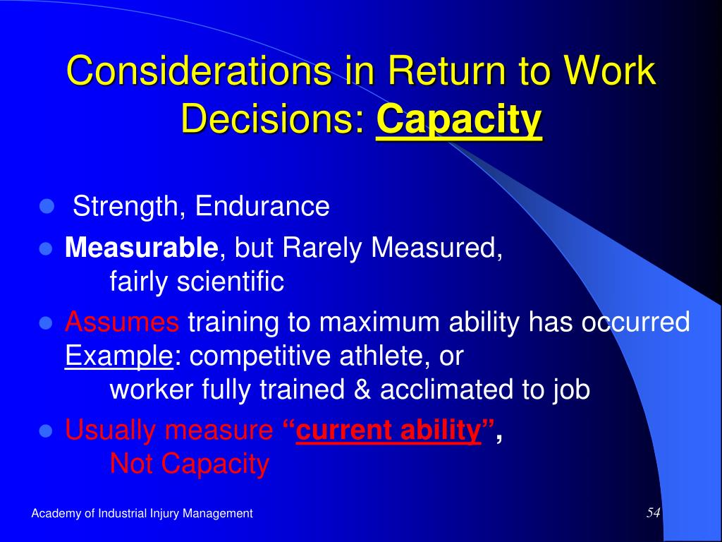 Considerations in Return to Work Decisions: