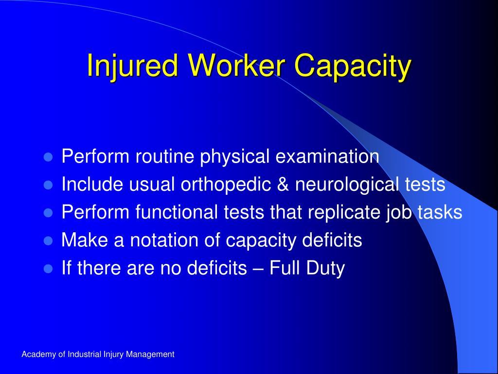 Injured Worker Capacity