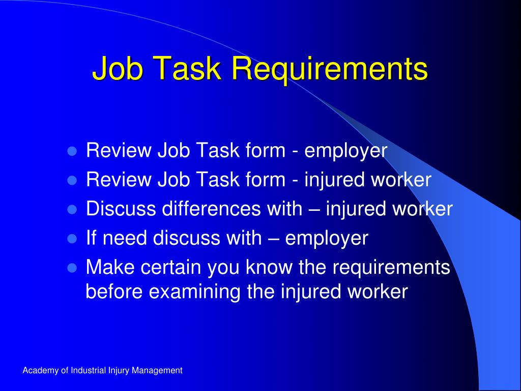 Job Task Requirements