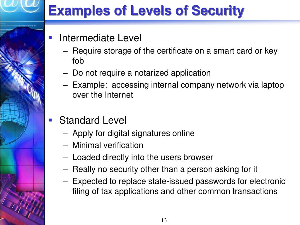 Examples of Levels of Security
