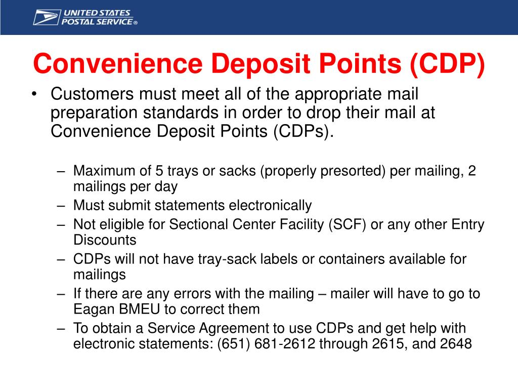 Convenience Deposit Points (CDP)