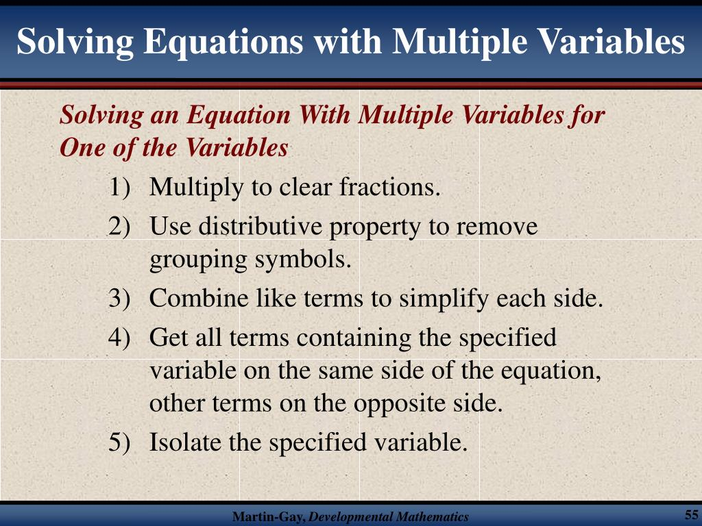 Solving Equations with Multiple Variables