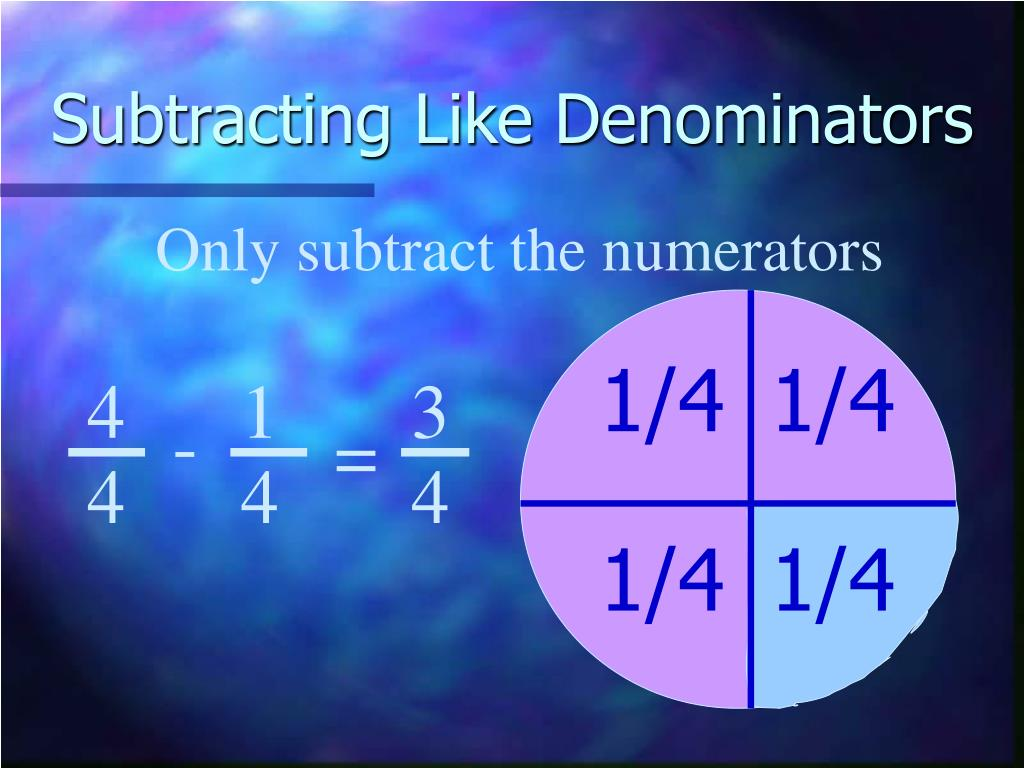 Subtracting Like Denominators