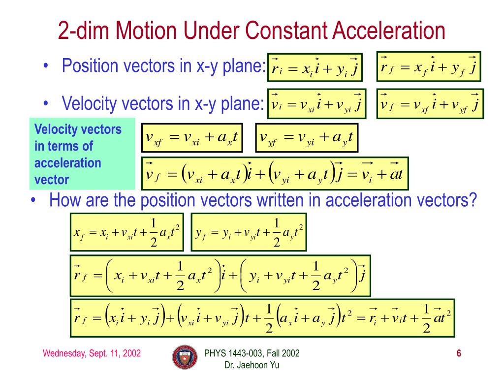 2-dim Motion Under Constant Acceleration