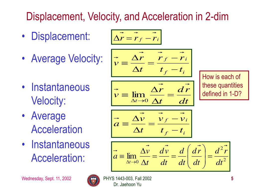 Displacement, Velocity, and Acceleration in 2-dim