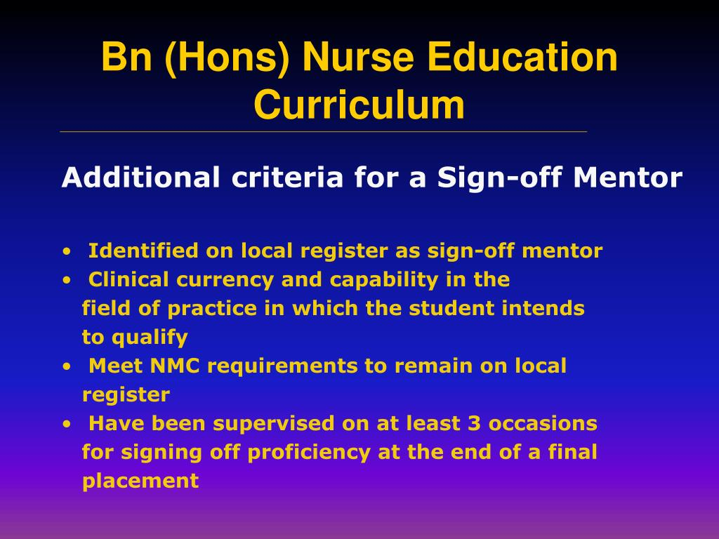 Additional criteria for a Sign-off Mentor