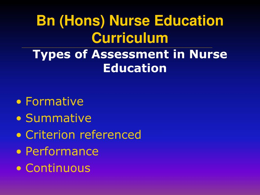 Types of Assessment in Nurse Education