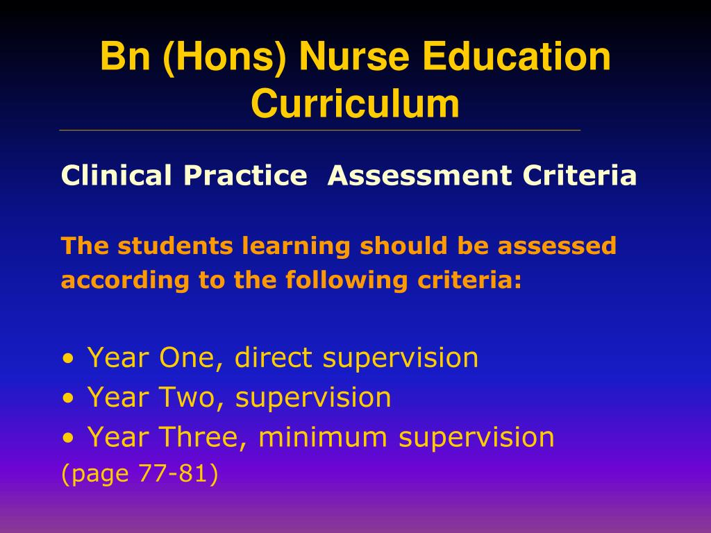 Clinical Practice  Assessment Criteria