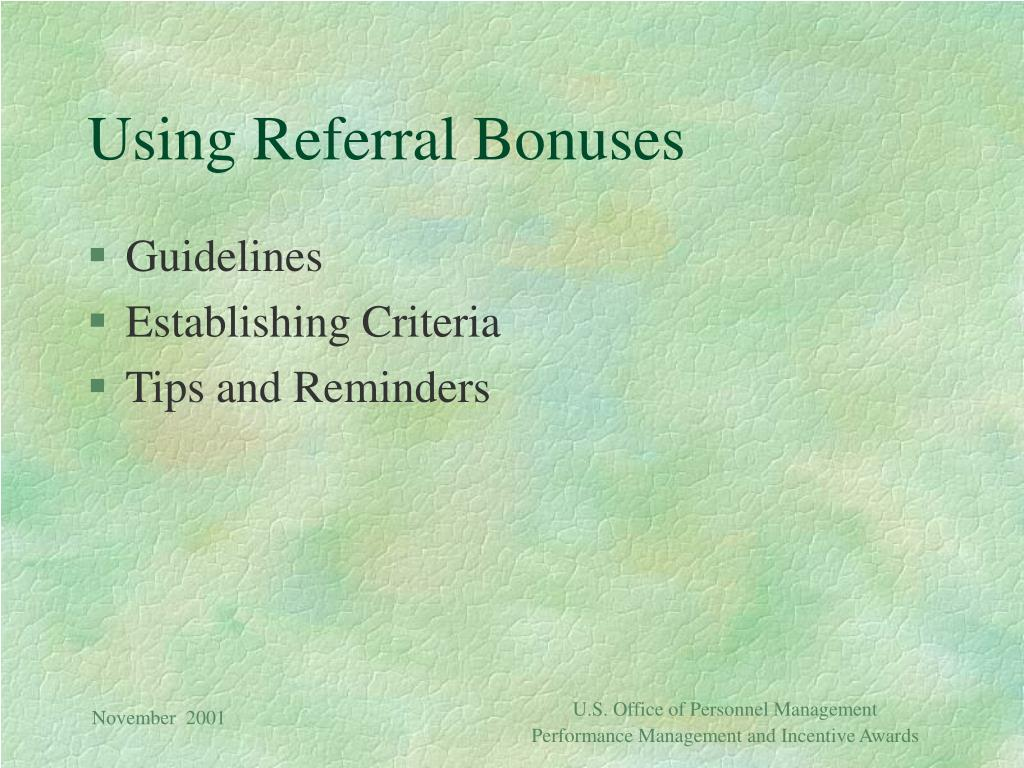 Using Referral Bonuses