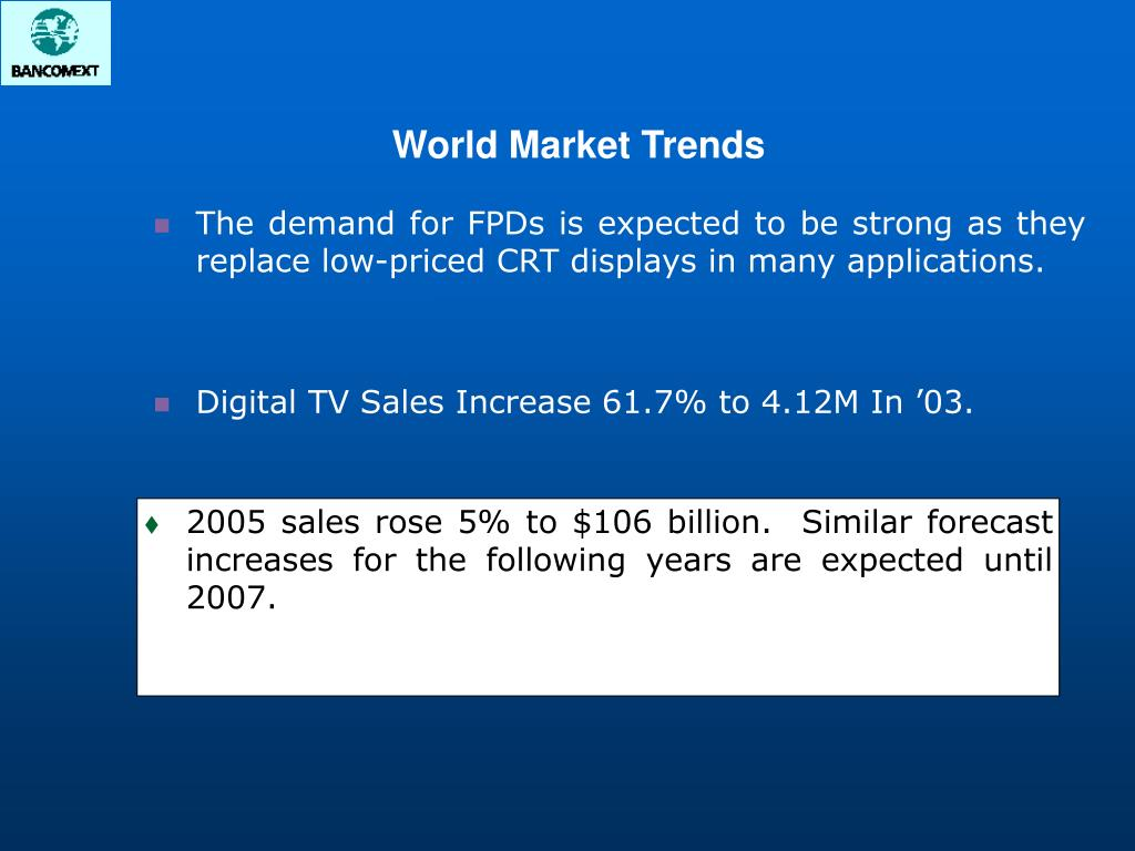 2005 sales rose 5% to $106 billion.  Similar forecast increases for the following years are expected until 2007.