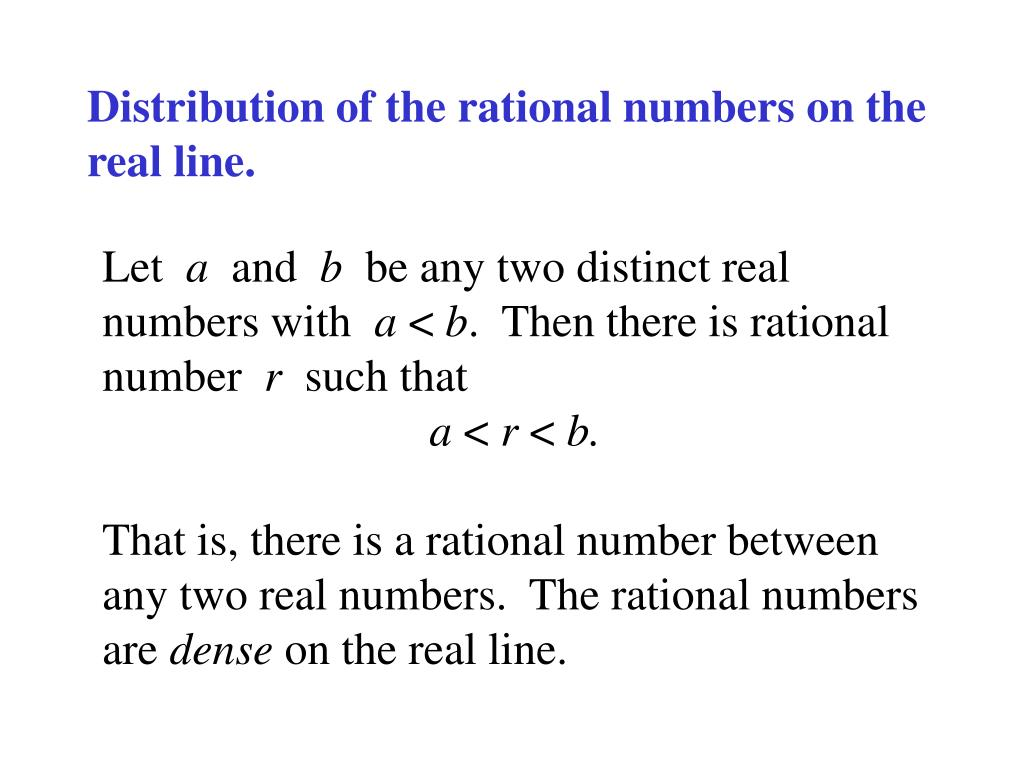 Distribution of the rational numbers on the real line.
