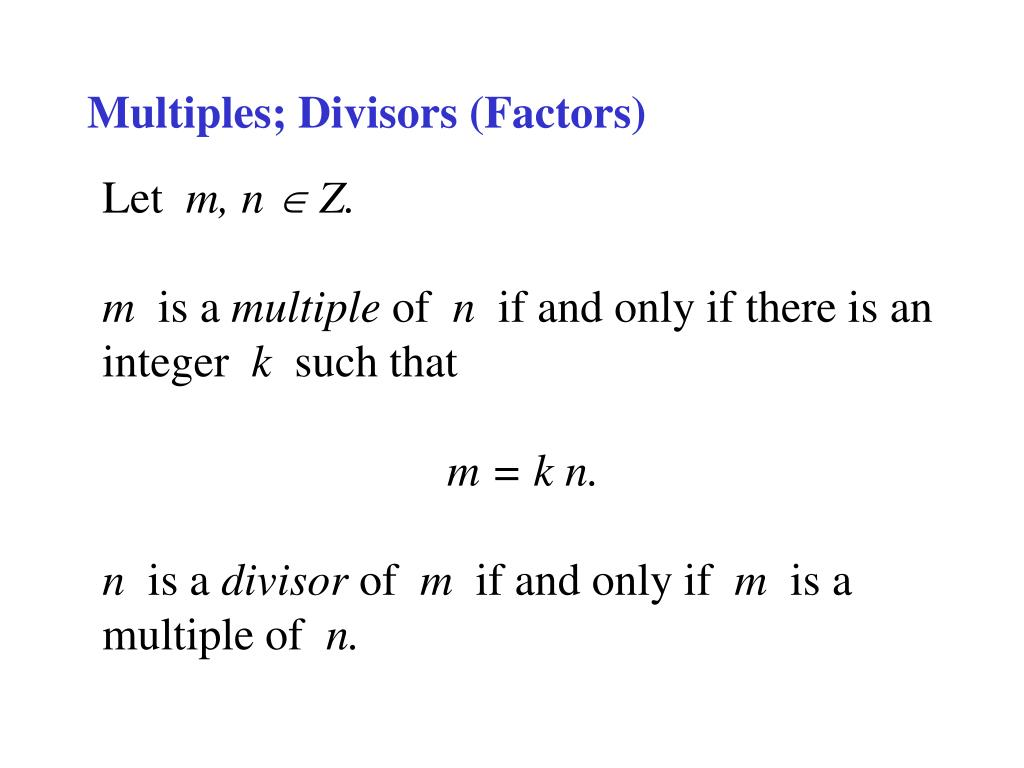 Multiples; Divisors (Factors)