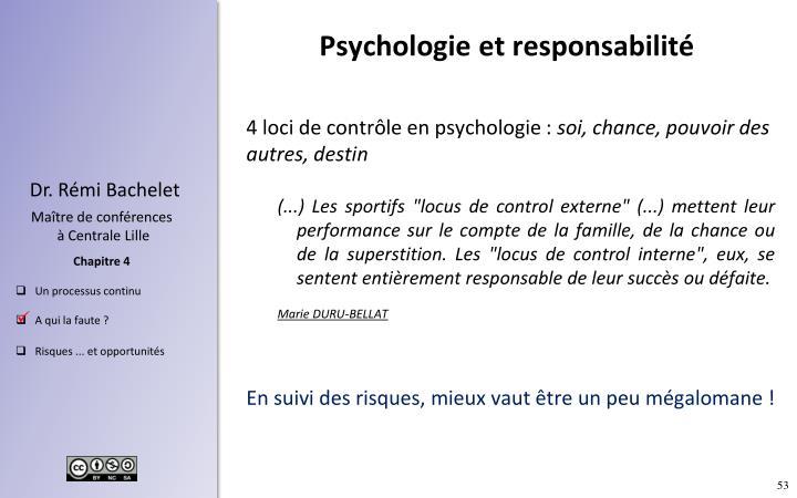 Psychologieet responsabilité
