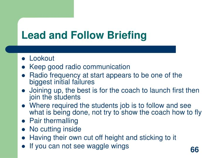 Lead and Follow Briefing