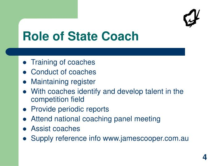 Role of State Coach